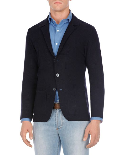 Isaia - Blue Honeycomb Merino Blazer for Men - Lyst