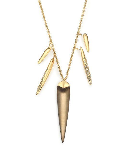 Alexis Bittar | Metallic Sport Deco Lucite & Crystal Spear Charm Necklace | Lyst