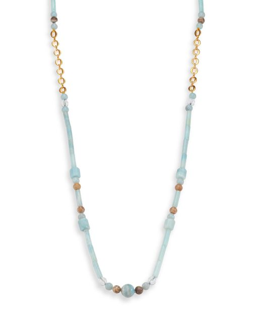 Stephanie Kantis | Lavish Blue Amazonite, Fossil Coral & White Quartz Beaded Long Necklace | Lyst
