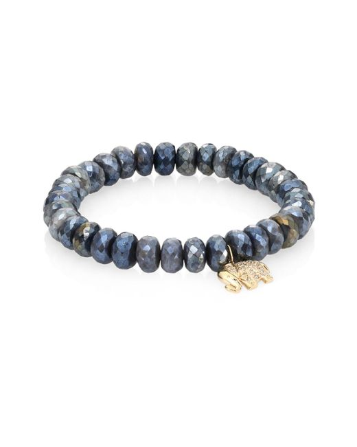 Sydney Evan - Gray Small Elephant Diamond, Dark Grey Quartz & 14k Yellow Gold Beaded Stretch Bracelet - Lyst