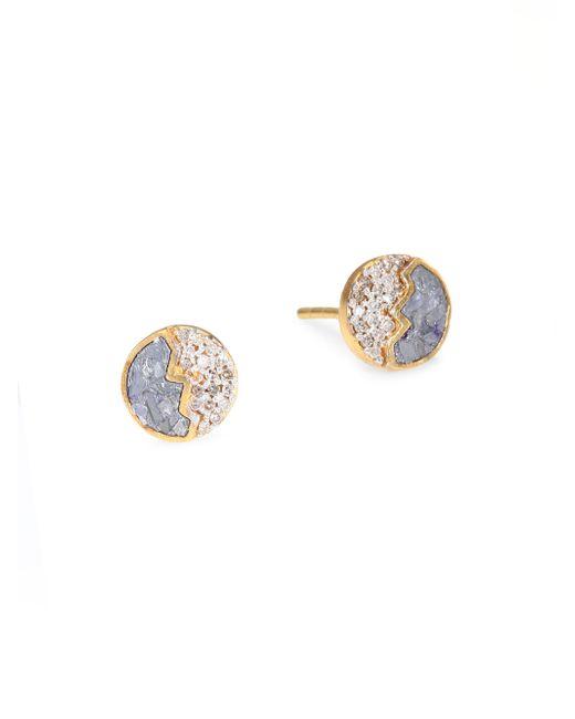 Shana Gulati - Metallic Raina Sliced Raw Diamond Stud Earrings - Lyst