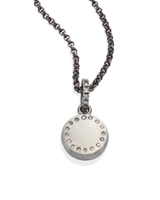 Rene Escobar | Metallic Small Diamond & Sterling Silver Round Pendant Necklace | Lyst