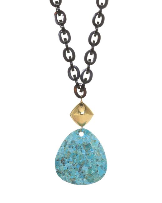 Nest - Blue Turquoise & Black Horn Chain Link Pendant Necklace - Lyst
