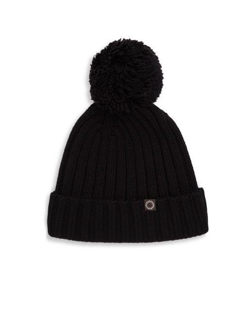 Ugg - Black Ribbed-knit Pom-pom Beanie - Lyst