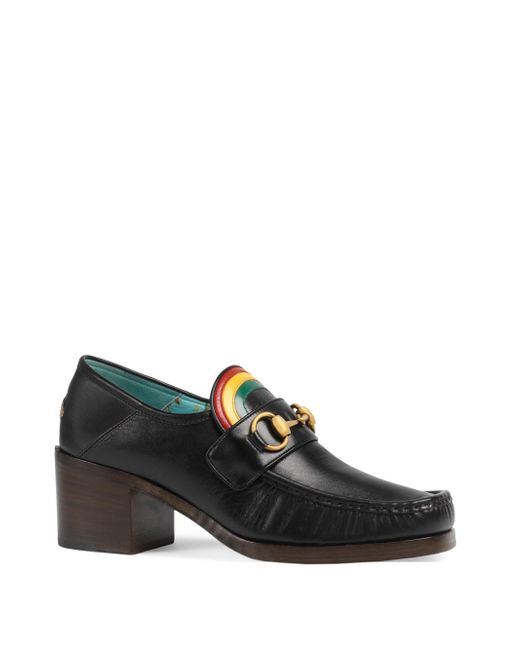 Gucci - Black Vegas Rainbow Leather Loafer Pumps - Lyst