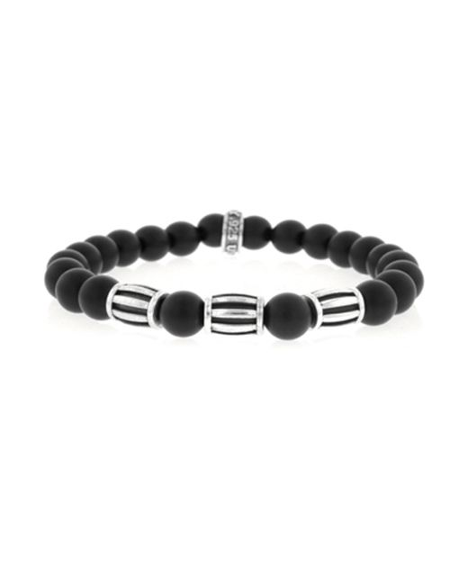 King Baby Studio | Black Onyx Sterling Silver Three Barrel Beaded Bracelet | Lyst