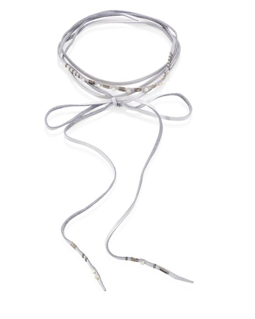 Chan Luu - White Mother-of-pearl & Leather Wrap Necklace - Lyst