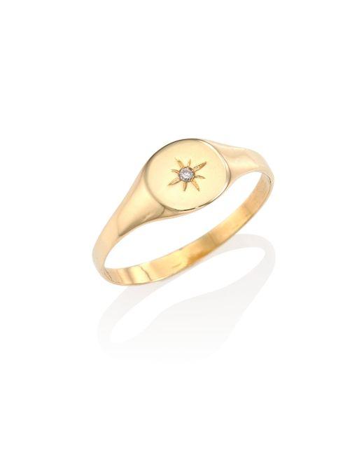 Jacquie Aiche - Metallic Burst Diamond & 14k Yellow Gold Signet Ring - Lyst