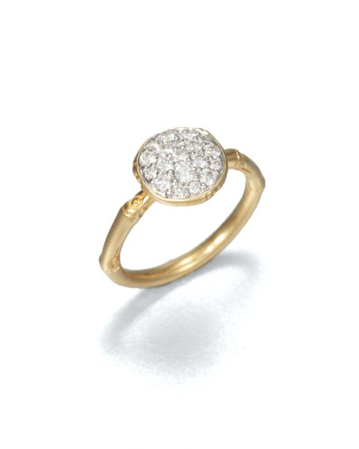 John Hardy | Metallic Bamboo Diamond & 18k Yellow Gold Small Round Ring | Lyst