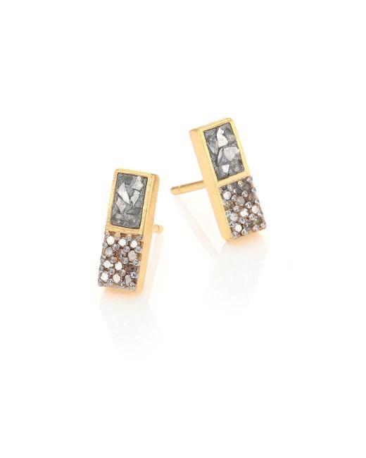 Shana Gulati - Metallic Women's Banjara Alwar Sliced Raw & Champagne Diamond Stud Earrings - Gold - Lyst