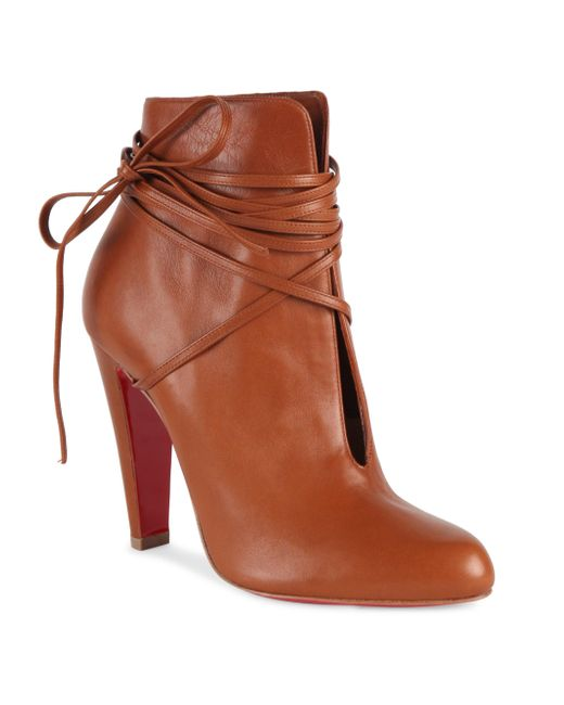 Christian Louboutin - Brown S.i.t. Rain 100 Leather Booties - Lyst