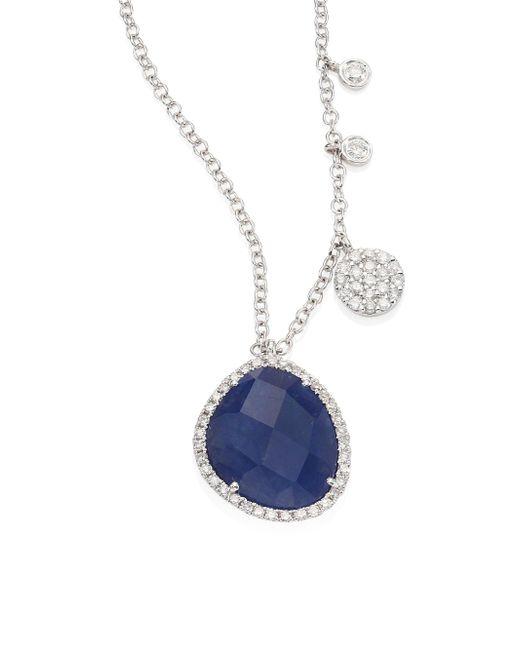 Meira T - Diamond, Blue Sapphire & 14k White Gold Pendant Necklace - Lyst