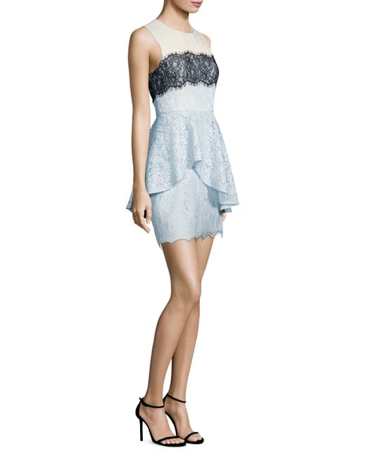 BCBGMAXAZRIA - Blue Noah Lace Peplum Sheath Dress - Lyst