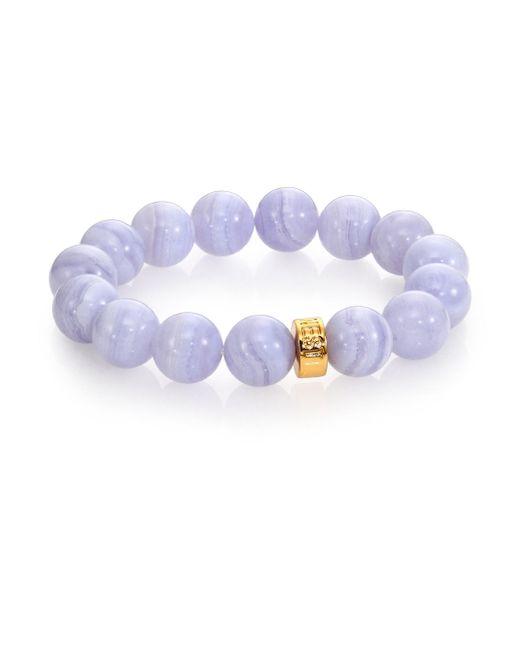 Nest   Purple Blue Lace Agate Beaded Stretch Bracelet   Lyst