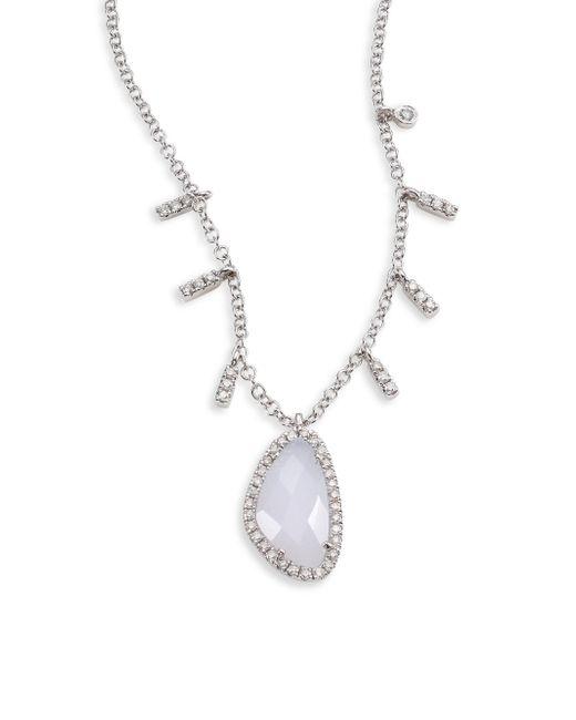 Meira T - Metallic Diamond, Blue Opal & 14k White Gold Pendant Necklace - Lyst