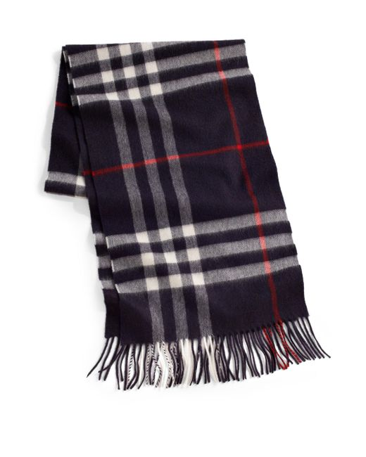 Burberry - Blue Cashmere Check Scarf for Men - Lyst