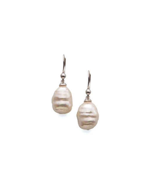 Majorica | 12mm White Baroque Pearl Drop Earrings | Lyst