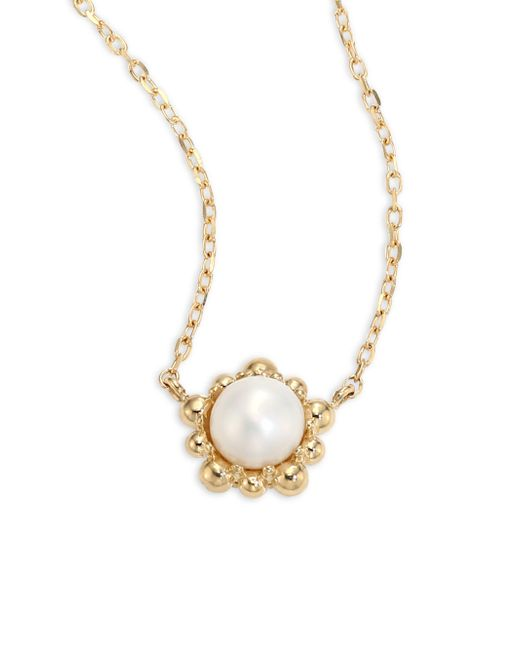 Anzie - Metallic Dew Drop 5mm White Pearl Pendant Necklace - Lyst