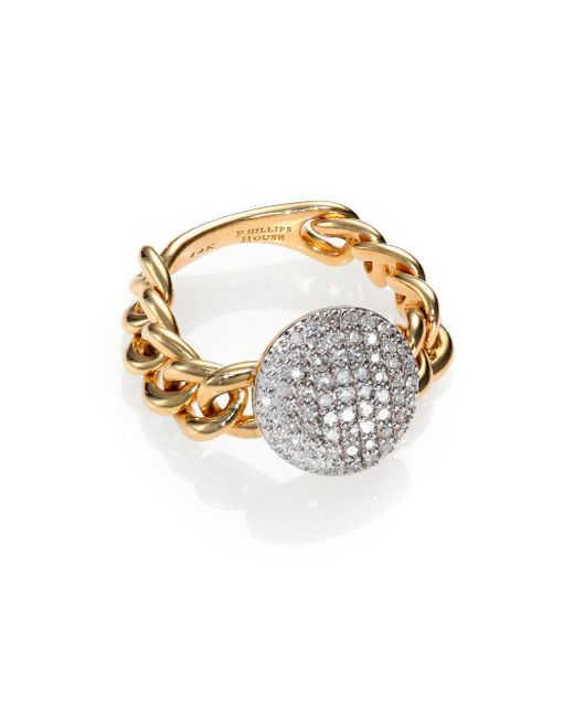 Phillips House   Metallic Affair Diamond & 14k Yellow Gold Infinity Mini-chain Link Ring   Lyst