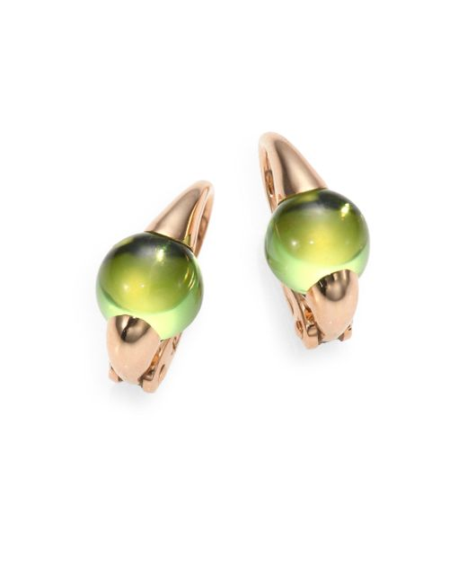 Pomellato | Pink Peridot & 18k Rose Gold Cabochon Earrings | Lyst
