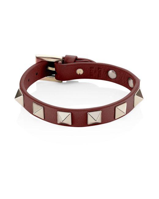 Valentino   Red Rockstud Leather Bracelet   Lyst
