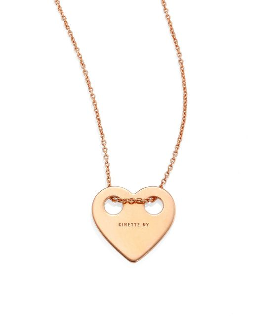 Ginette NY - Metallic Minis On Chain Heart 18k Rose Gold Pendant Necklace - Lyst