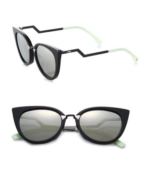 Fendi - Black Zig-zag Arm 52mm Cat Eye Sunglasses - Lyst
