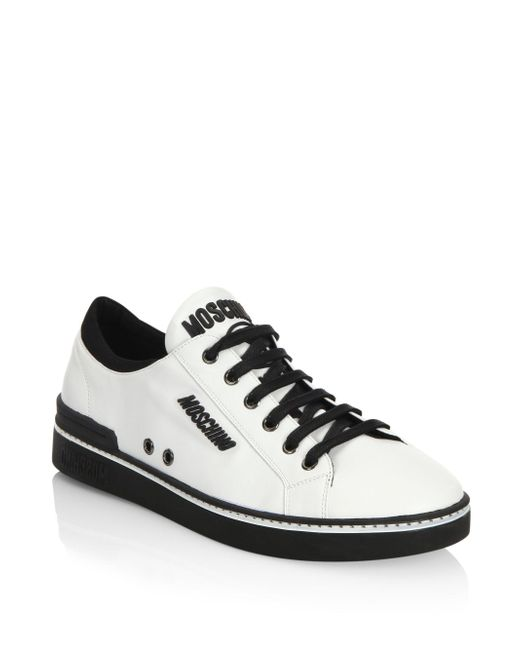Moschino | White Contrast Leather Low Top Sneakers for Men | Lyst