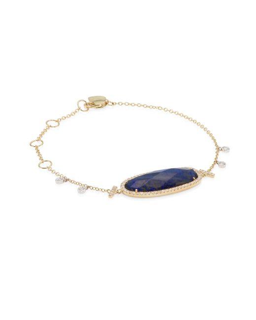 Meira T - Metallic Pave Diamond, Blue Labradorite & 14k Yellow Gold Bracelet - Lyst
