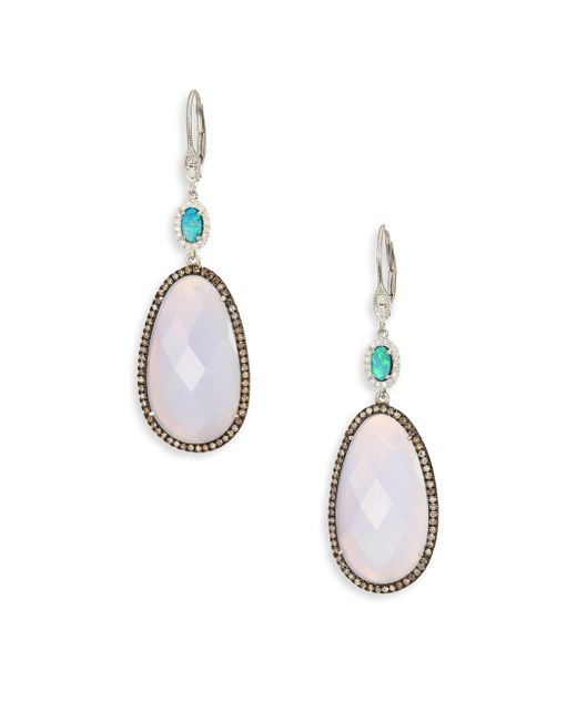 Meira T - Metallic Diamond, Opal, Blue Opal, 14k White Gold & Silver Drop Earrings - Lyst