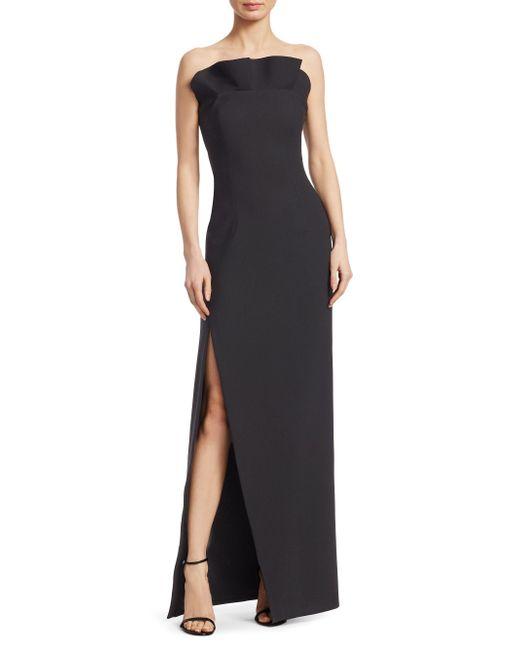 Cinq À Sept - Black Kera Ruffled Strapless Gown - Lyst