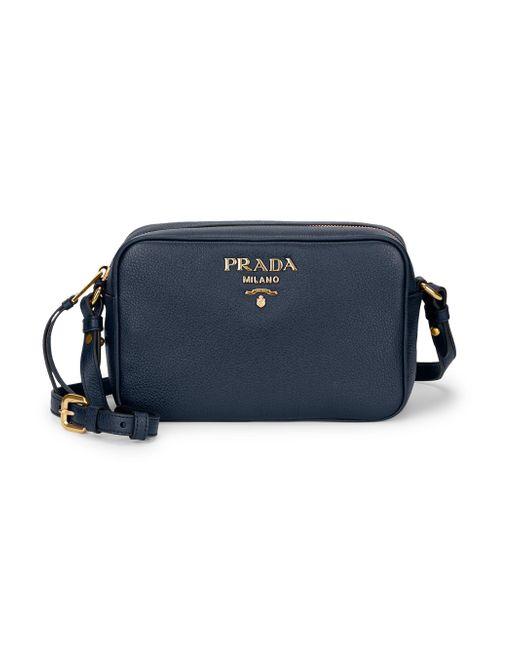 8c2857fb02a5 Lyst - Prada Daino Textured Leather Mini Crossbody Bag in Blue