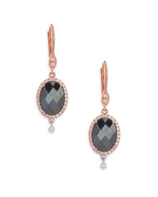 Meira T - Metallic Hematite, Diamond & 14k Rose Gold Drop Earrings - Lyst