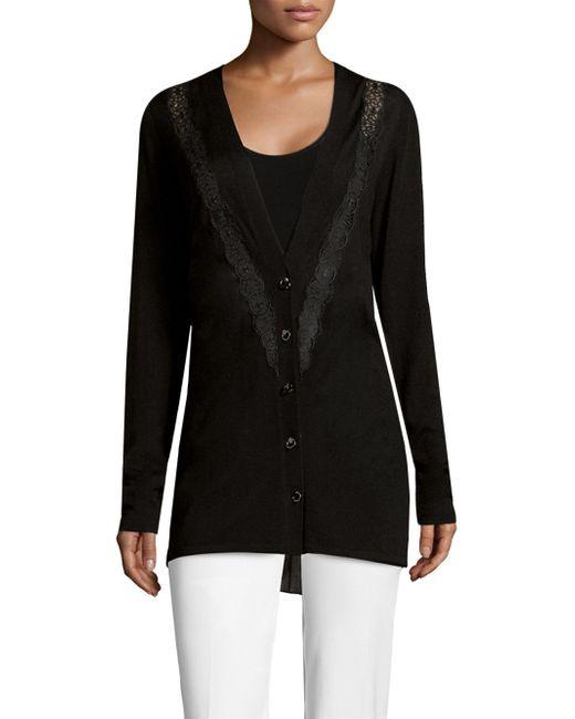 Elie Tahari - Black Amber Wool Embroidered Cardigan - Lyst