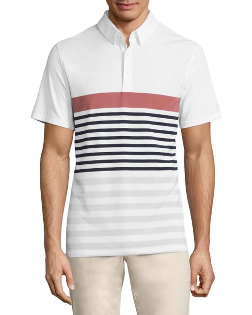AG Green Label | White Downey Stripe Printed Polo for Men | Lyst