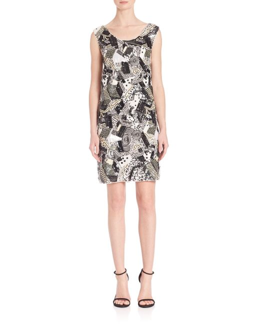 Laundry by Shelli Segal | Black Platinum Geometric Sequin Beaded Dress | Lyst