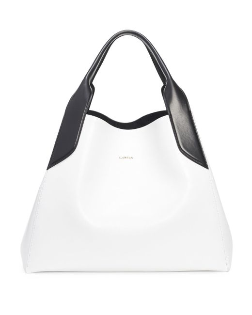 Lanvin - White Structured Leather Tote - Lyst