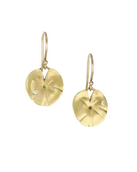 Annette Ferdinandsen - Metallic Diamond & 18k Yellow Gold Lily Pad Earrings - Lyst