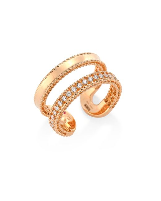 Roberto Coin | Metallic Double Symphony Diamond & 18k Rose Gold Ring | Lyst