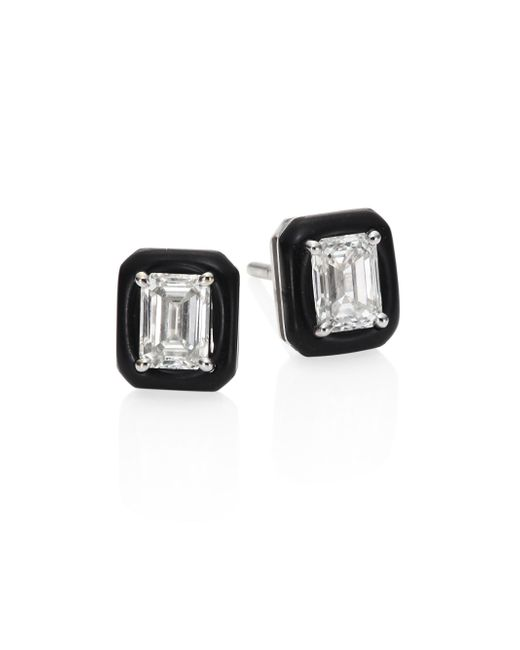 Nikos Koulis | Multicolor Oui Diamond & Enamel Stud Earrings | Lyst