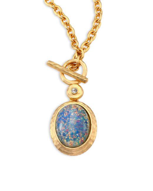 Kenneth Jay Lane | Metallic Blue Opal & Crystal Toggle Pendant Necklace | Lyst