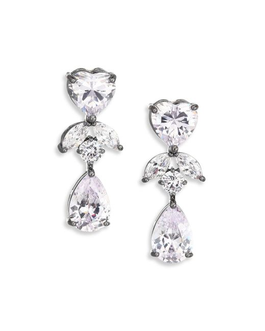 Fallon | Metallic Monarch Crystal Heart Double-drop Earrings | Lyst
