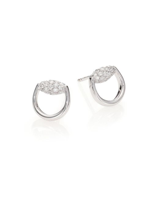 Gucci | Metallic Horsebit Diamond & 18k White Gold Stud Earrings | Lyst