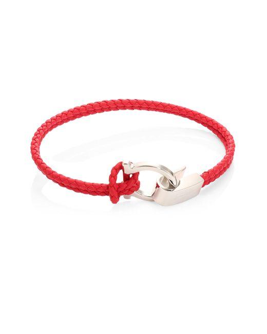 Ferragamo | Red Double Wrap Leather Bracelet | Lyst