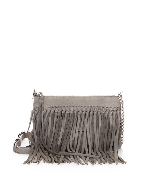 Rebecca Minkoff - Gray Fringed Leather Crossbody Handbag - Lyst