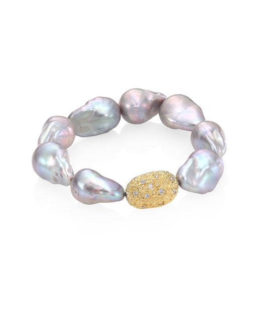 Jordan Alexander   Gray 15mm Baroque Freshwater Pearl, Diamond & 18k Yellow Gold Beaded Stretch Bracelet   Lyst