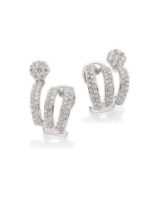 Hueb - Metallic Diamond Flower 18k White Gold & Diamond Cuff Earrings - Lyst