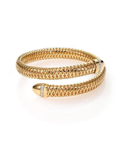 Roberto Coin - Metallic Primavera Diamond & 18k Yellow Gold Wrap Bracelet - Lyst