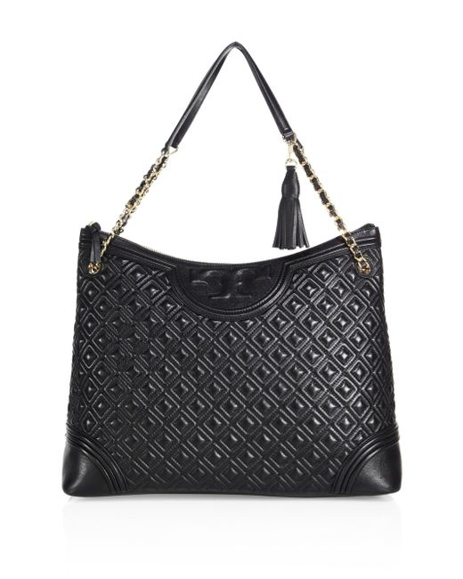 Tory Burch   Black Fleming Quilted Leather Tote   Lyst
