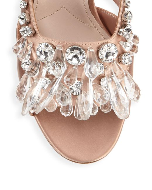 Miu Miu Glittered block heel sandals Extremely Online Clearance Cheap Price ZG3O5